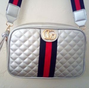 Silver Quilted CG Style Purse Crossbody